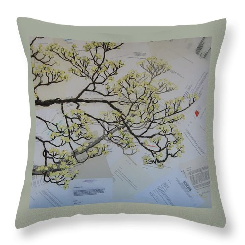 Collage Throw Pillow featuring the painting Dear Artist by Leah Tomaino