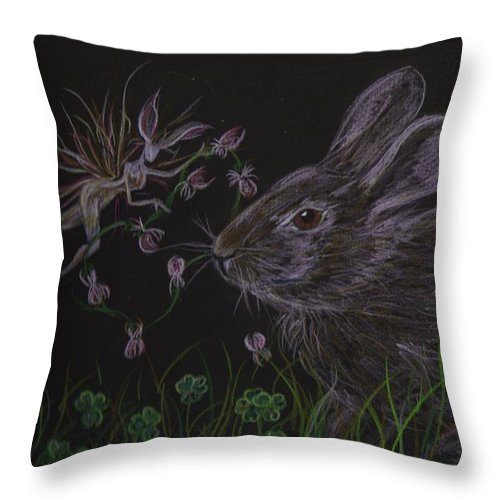 Fairie Throw Pillow featuring the drawing Dearest Bunny Eat The Clover And Let The Garden Be by Dawn Fairies