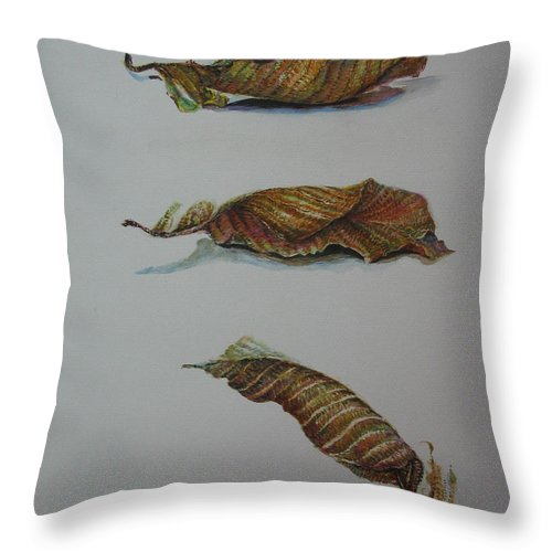 Leaf Throw Pillow featuring the painting Death Leaf Walking by Sukalya Chearanantana