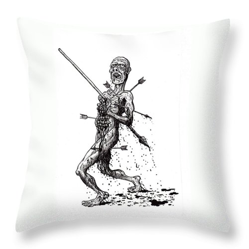 Dark Throw Pillow featuring the drawing Death March by Tobey Anderson