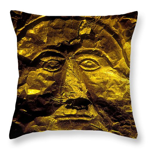 Mycenaean Gold Mask Throw Pillow featuring the photograph Death Mask by Andonis Katanos