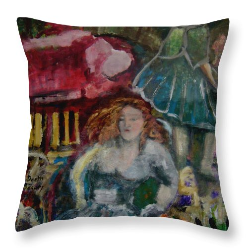 Abstract Throw Pillow featuring the painting Death Of Beauty by Angelina Marino