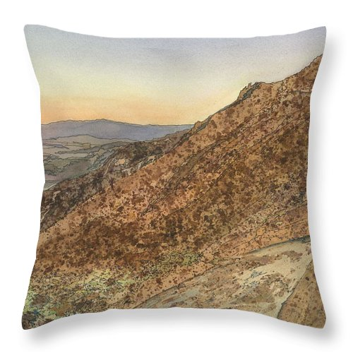 Death Valley Throw Pillow featuring the painting Death Valley From Dante's View A November Sunset by Joel Deutsch