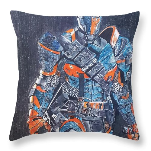 Deathstroke Throw Pillow featuring the mixed media Deathstroke Illustration Art by Vaibhav Salvi