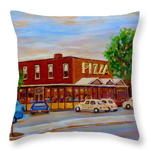 Tasty Food Pizza Throw Pillow featuring the painting Decarie Tasty Food Pizza by Carole Spandau