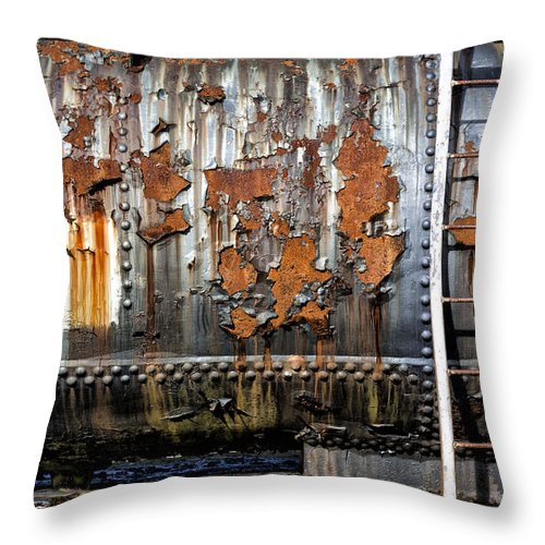 Abstract Throw Pillow featuring the photograph Decaying Railroad Car by Russ Dixon