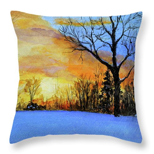 Sunset Throw Pillow featuring the painting December Sunset by C Keith Jones