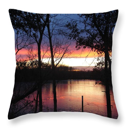 Red Gold Blue Lake Trees Throw Pillow featuring the photograph December Sunset by Luciana Seymour