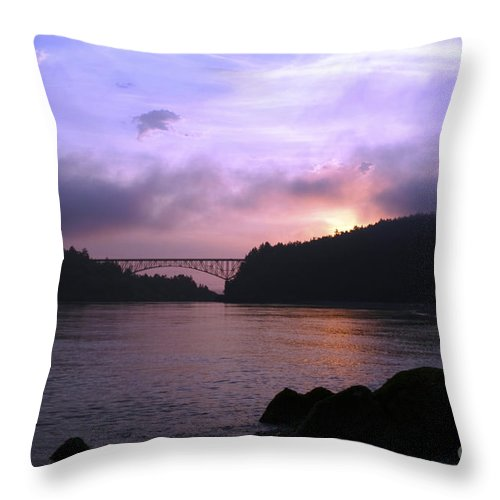 Sunrise Throw Pillow featuring the photograph Deception Pass Sunrise by Idaho Scenic Images Linda Lantzy