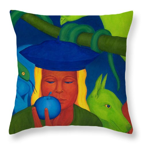 Surreal Throw Pillow featuring the painting Decision. by Andrzej Pietal