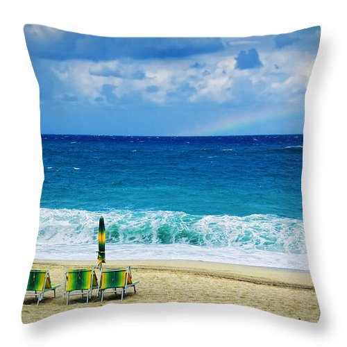 Deck Chairs Throw Pillow featuring the photograph Deck Chairs And Distant Rainbow by Silvia Ganora