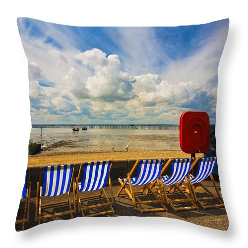 Southend On Sea Throw Pillow featuring the photograph Deck chairs at Southend on Sea by Sheila Smart Fine Art Photography