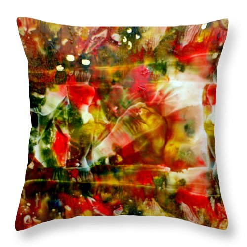 Window Throw Pillow featuring the painting Deck The Halls by Susan Kubes