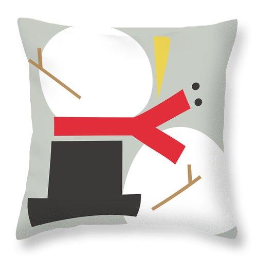Snowman Throw Pillow featuring the digital art Deconstructed Snowman- Modern Art By Linda Woods by Linda Woods