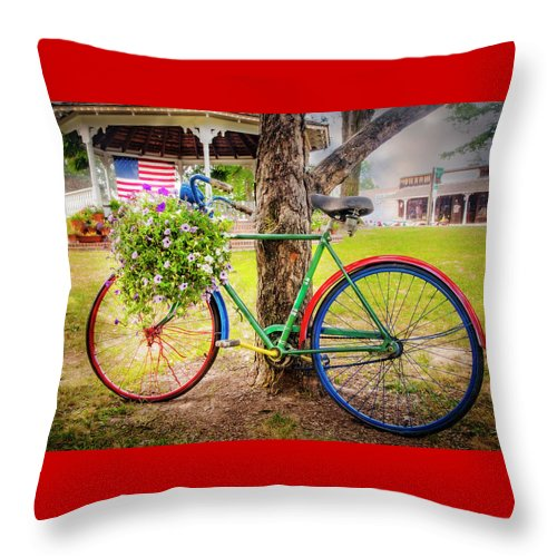 American Throw Pillow featuring the photograph Decorated Bicycle In The Park by Debra and Dave Vanderlaan