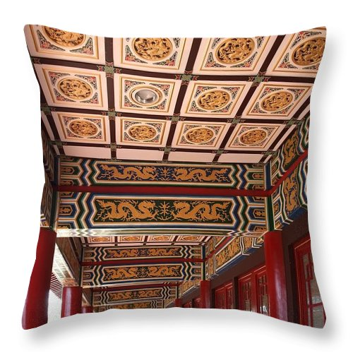 Taiwan Throw Pillow featuring the photograph Decorated Columned Hall Of A Chinese Temple by Yali Shi