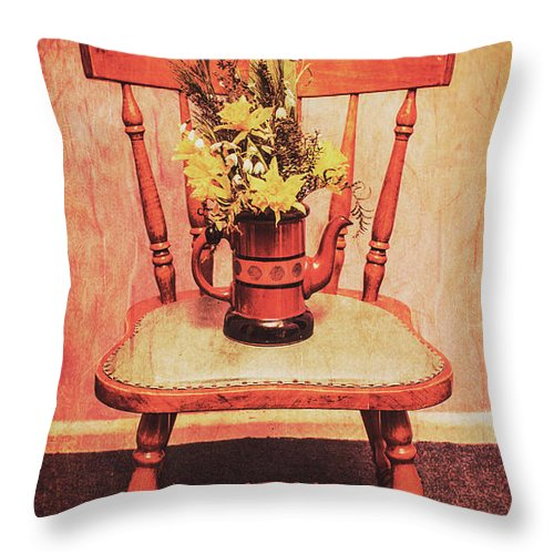 Flower Throw Pillow featuring the photograph Decorated Flower Bunch On Old Wooden Chair by Jorgo Photography - Wall Art Gallery