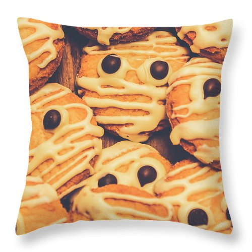Scary Throw Pillow featuring the photograph Decorated Shortbread Mummy Cookies by Jorgo Photography - Wall Art Gallery
