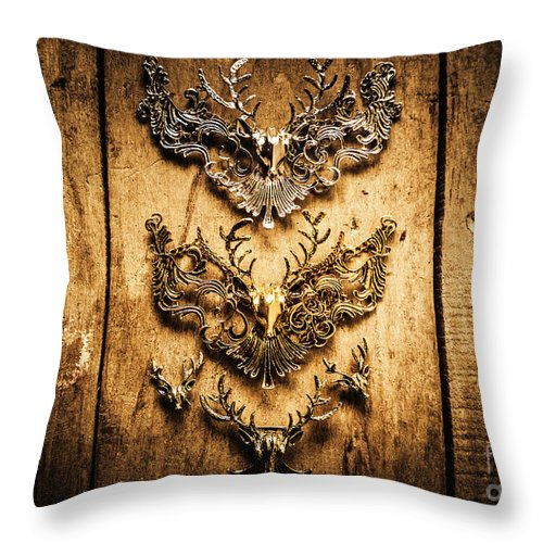 Deer Throw Pillow featuring the photograph Decorative Moose Emblems by Jorgo Photography - Wall Art Gallery