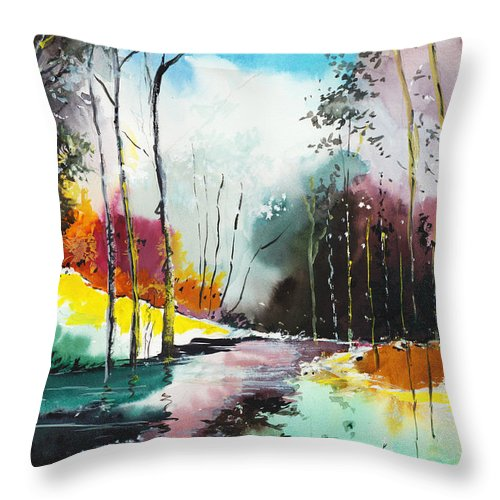 Nature Throw Pillow featuring the painting Deep 5 by Anil Nene
