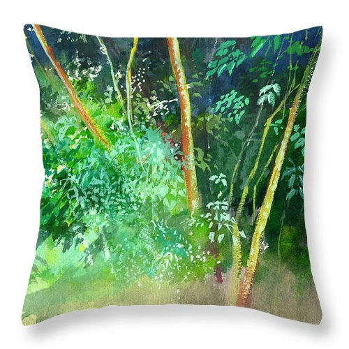 Water Color Throw Pillow featuring the painting Deep by Anil Nene
