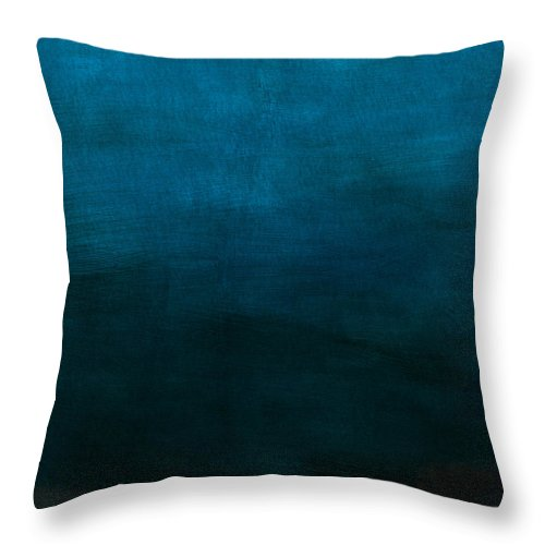 Blue Throw Pillow featuring the mixed media Deep Blue Mood- Abstract Art by Linda Woods by Linda Woods