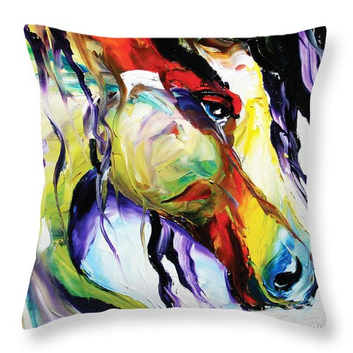 Horse Paintings Throw Pillow featuring the painting Deep Memories by Laurie Pace