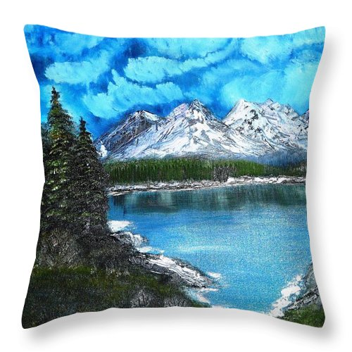 Landscape Throw Pillow featuring the painting Deep Mountain Lake by Valerie Ornstein