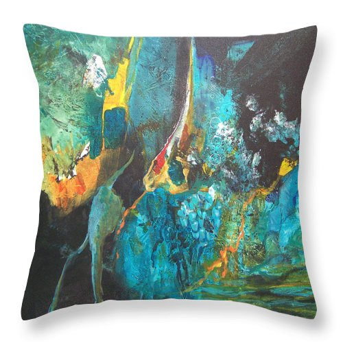 Painting Throw Pillow featuring the painting Deep Mystery by MtnWoman Silver