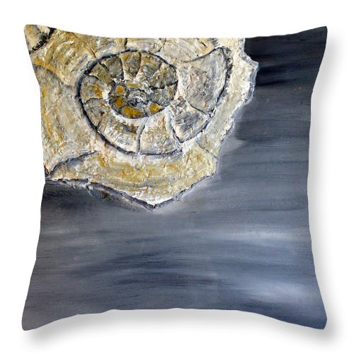 Still Life Paintings Throw Pillow featuring the painting Deep Ocean Seashell by Leslye Miller