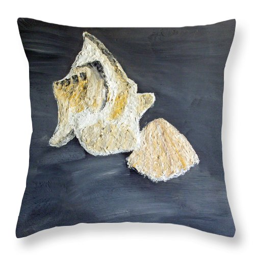 Still Life Paintings Throw Pillow featuring the painting Deep Ocean Seashells by Leslye Miller