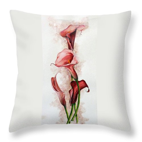 Floral Throw Pillow featuring the painting Deep Red Callas by Karin Dawn Kelshall- Best