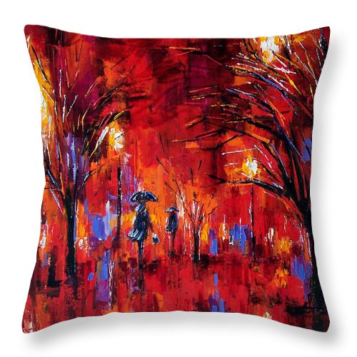 Umbrellas Throw Pillow featuring the painting Deep Red by Debra Hurd