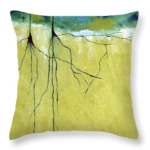 Abstract Throw Pillow featuring the painting Deep Roots by Ruth Palmer