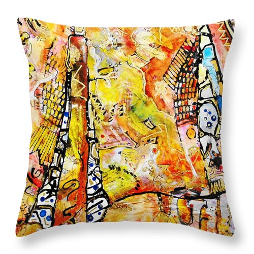 Ocean Throw Pillow featuring the painting Art And Theater by Claire Sallenger Martin
