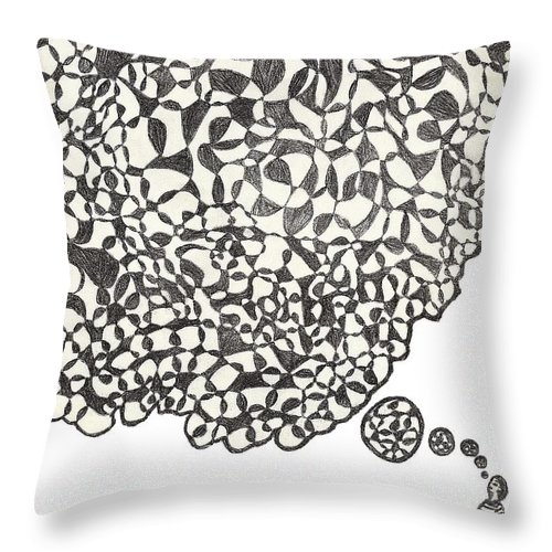 Abstract Throw Pillow featuring the drawing Deep Thoughts by Jean Haynes