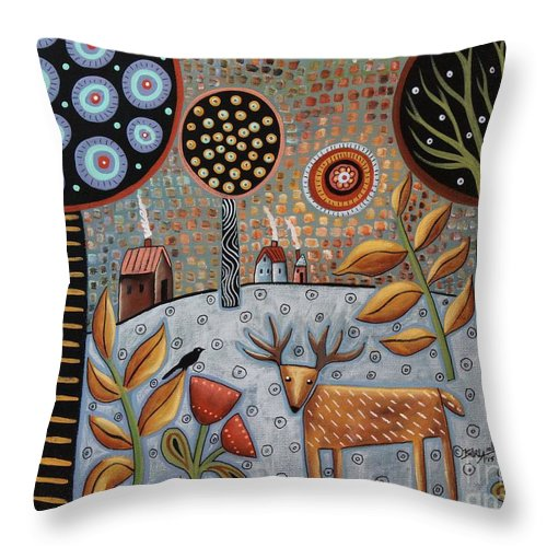 Landscape Throw Pillow featuring the painting Deer And Bird 1 by Karla Gerard