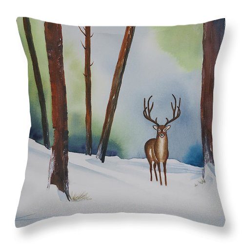 Deer Prints Throw Pillow featuring the painting Deer In The Forest by Francisco Ventura Jr