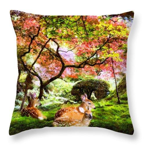 Deer Throw Pillow featuring the digital art Deer Relaxing In A Meadow by Ruth Moratz