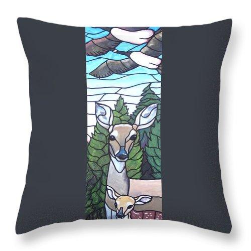 Deer Throw Pillow featuring the painting Deer Scene by Jim Harris