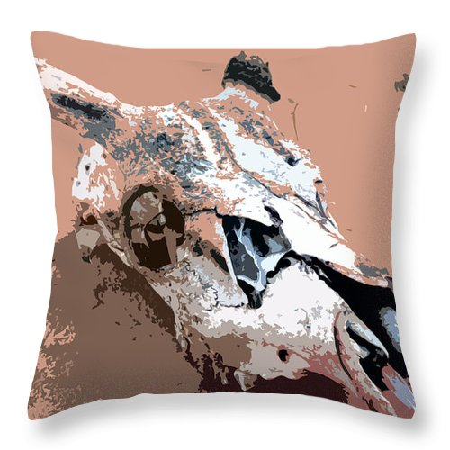 Skull Throw Pillow featuring the painting Deer Spirit by David Lee Thompson