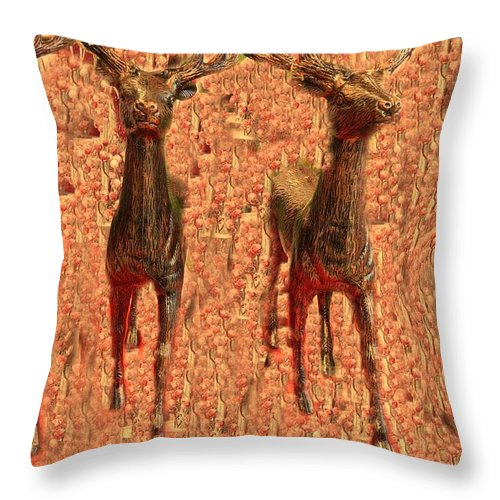 Throw Pillow featuring the photograph Deers by Miriam Marrero