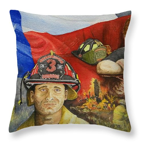 Firemen Throw Pillow featuring the painting Defending Texas by Gale Cochran-Smith