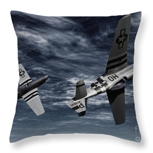 Aircombat Throw Pillow featuring the digital art Defensive Split by Richard Rizzo