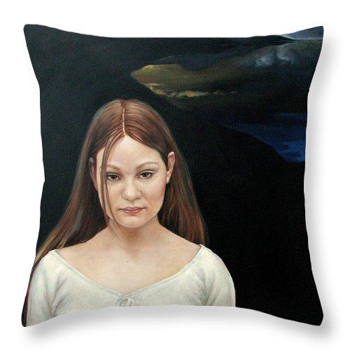 Facial Expressioin Throw Pillow featuring the painting Defiant Girl 2004 by Jerrold Carton