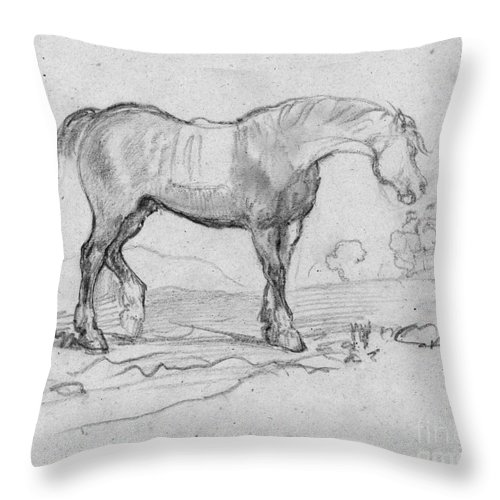 1890s Throw Pillow featuring the drawing Degas, Horse. by Granger