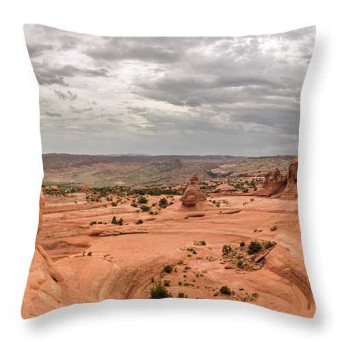 3scape Throw Pillow featuring the photograph Delicate Arch Panoramic by Adam Romanowicz
