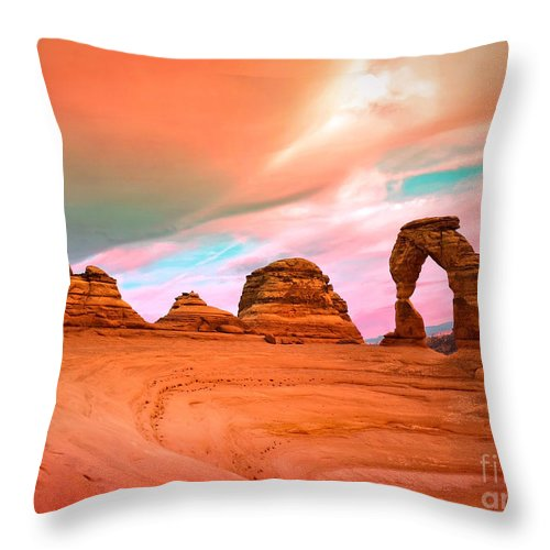 Delicate Arch Throw Pillow featuring the photograph Delicate Arch by Tara Turner