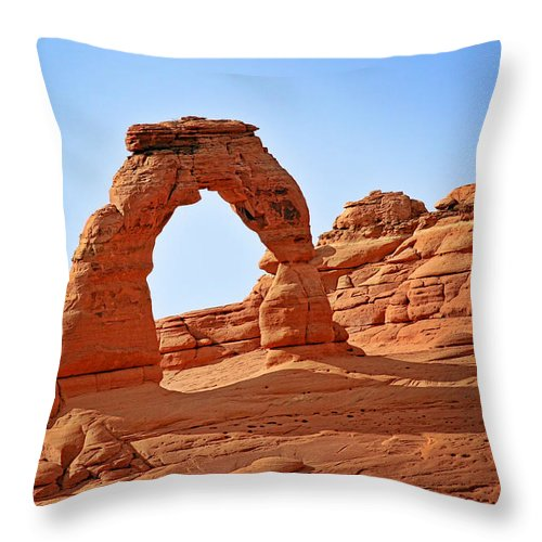 Landscape Throw Pillow featuring the photograph Delicate Arch The Arches National Park Utah by Christine Till