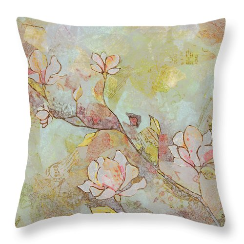 Magnolia Throw Pillow featuring the painting Delicate Magnolias by Shadia Derbyshire